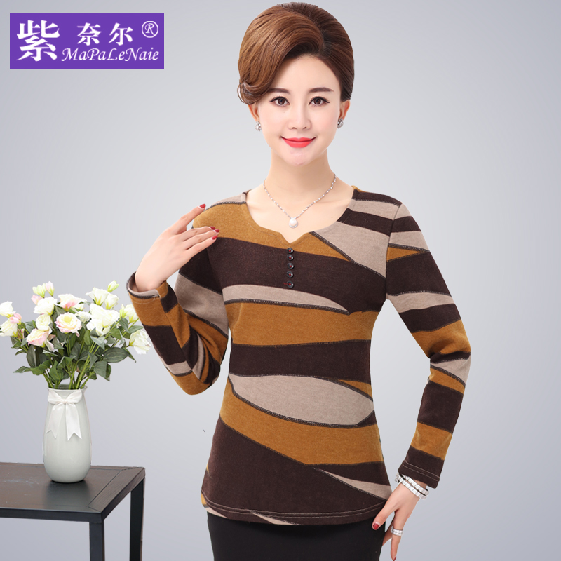 Middle-aged women's autumn and winter 40-50-year-old sleeved t-shirt middle-aged women mother dress winter bottoming shirt plus velvet warm clothing