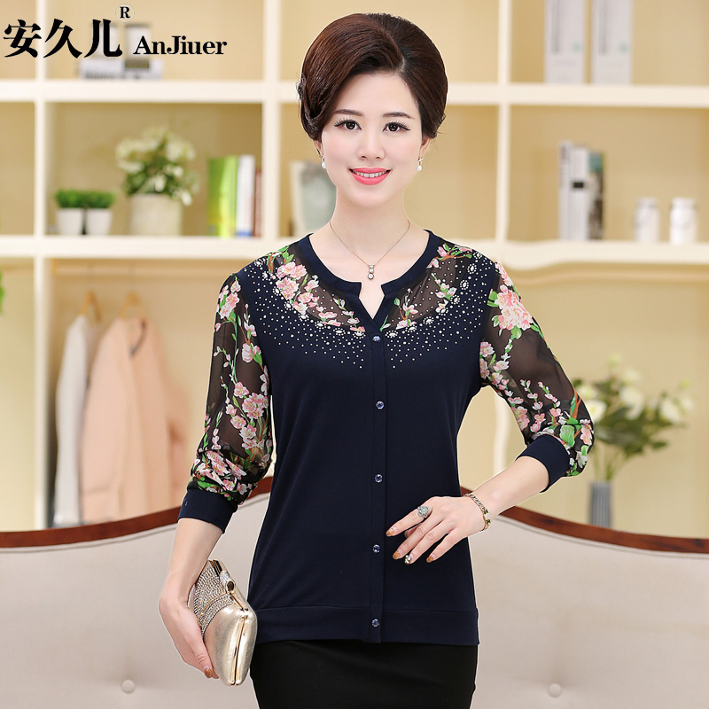 Middle-aged women's autumn long sleeve t-shirt mother dress 40-50-year-old middle-aged autumn and autumn big yards long sleeve chiffon shirt blouse