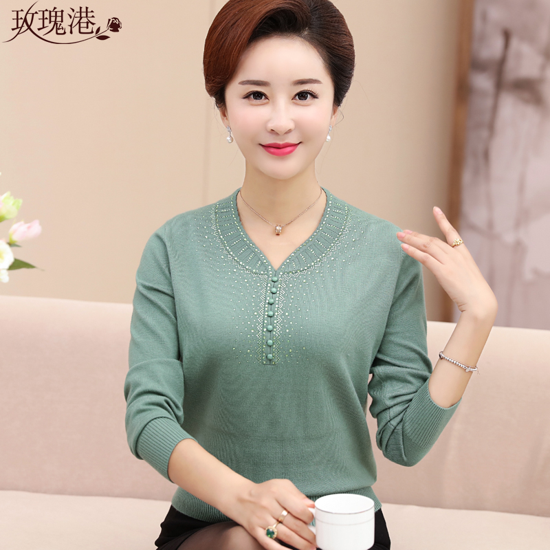 Middle-aged women's autumn sweater coat large size middle-aged mother dress sweater long sleeve t-shirt bottoming shirt female autumn