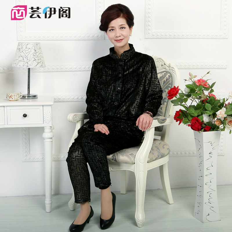 Middle-aged women's spring and autumn coat middle-aged middle-aged women's large size gold velvet middle-aged mother dress autumn autumn suit