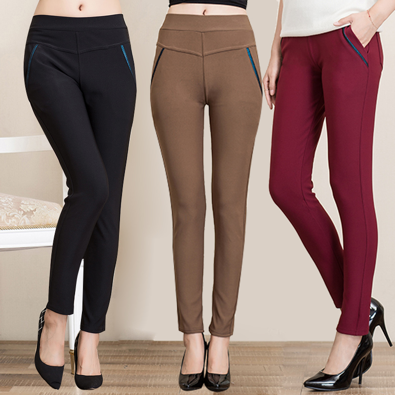 Middle-aged women's spring and autumn paragraph waist leggings outer wear trousers middle-aged mother dress pants casual pants pants feet
