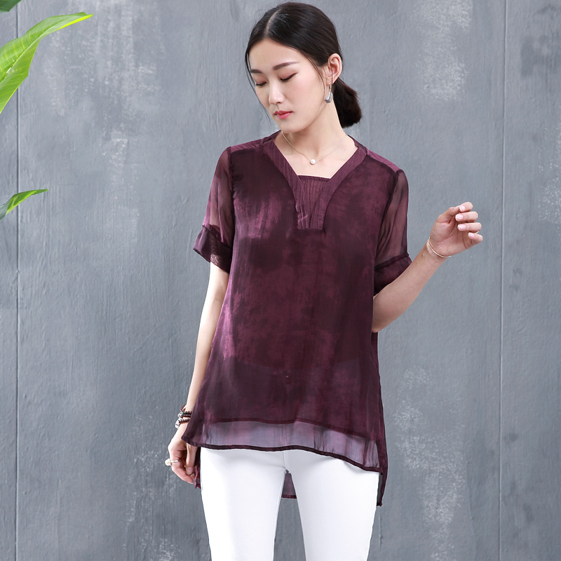 e87c109a1fcc Get Quotations · Middle-aged women s summer 2016 new silk shirt female long  section of the silk in