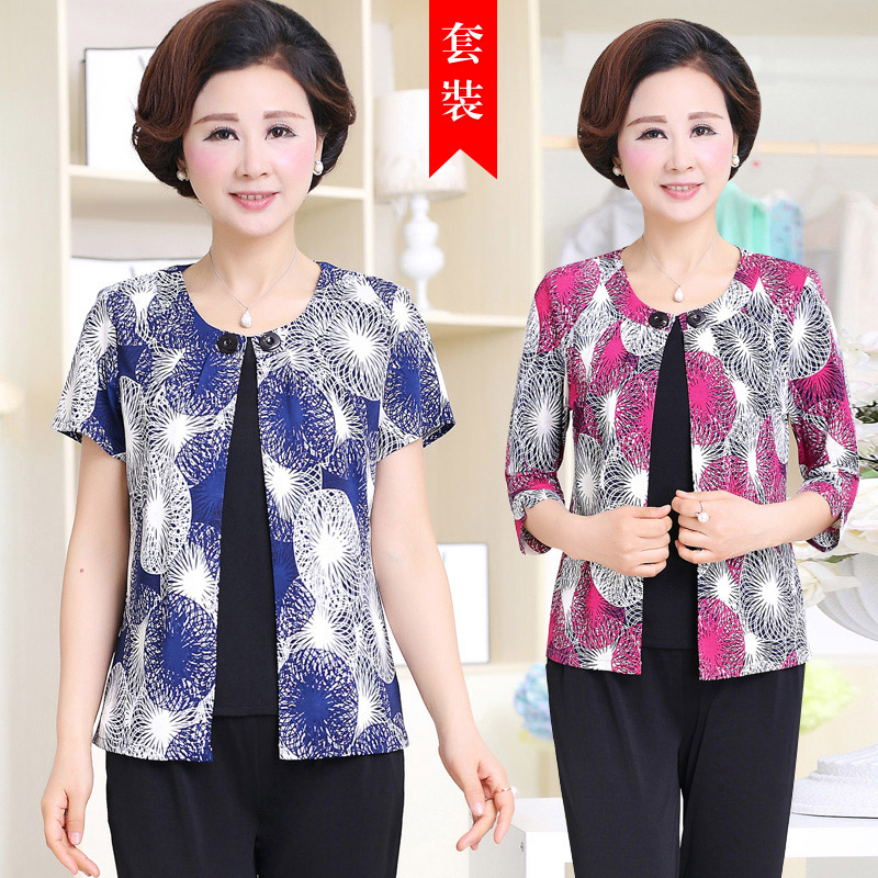 Middle-aged women's summer suits summer women loose big yards short sleeve middle-aged female clothing mother dress fat 40-50-60-year-old