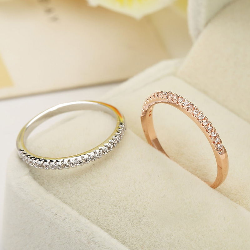 Midsummer crystal micro pave cz ring ring female models pinkie finger ring fine lap inlay diamond rose gold color gold ring