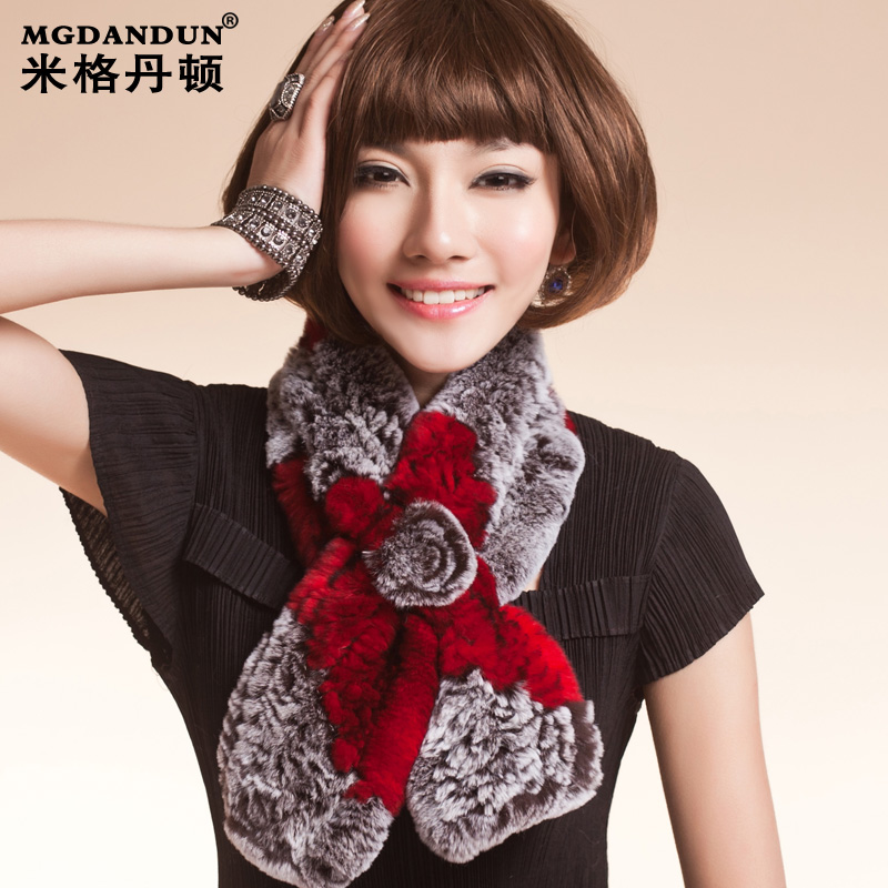 Mige dan benton 2015 new autumn and winter warm rabbit fur scarf rex rabbit fur scarf scarf fashion cross grid