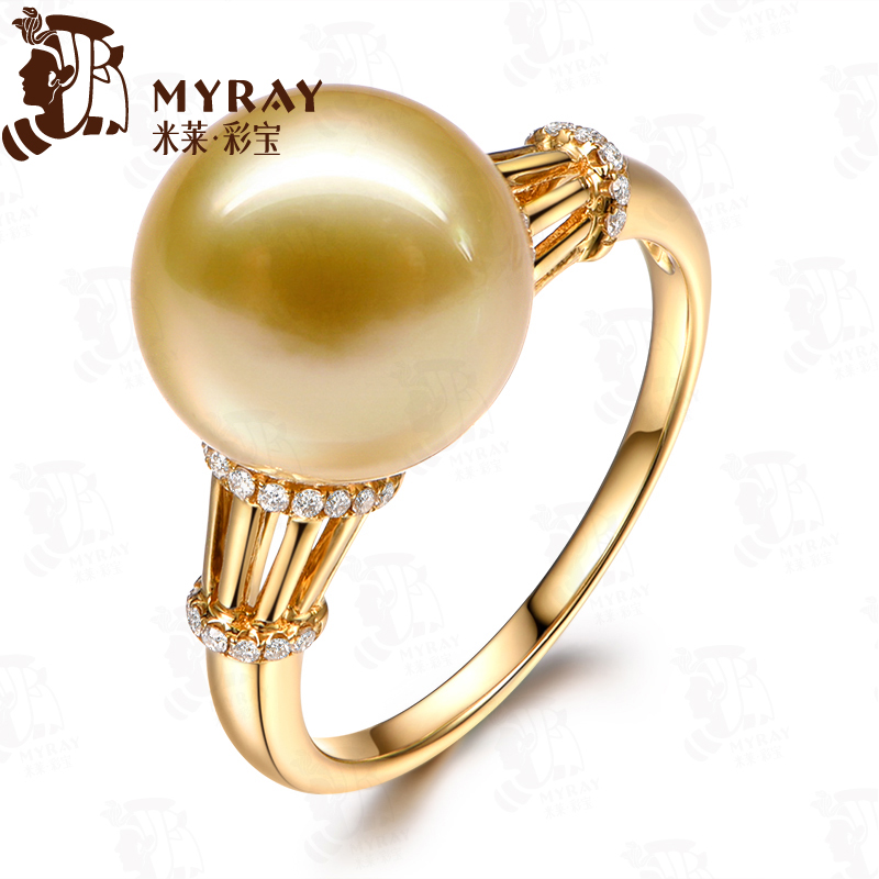 Mile 11-11. golden south sea pearl ring 5mm k gold pearl ring multicolored
