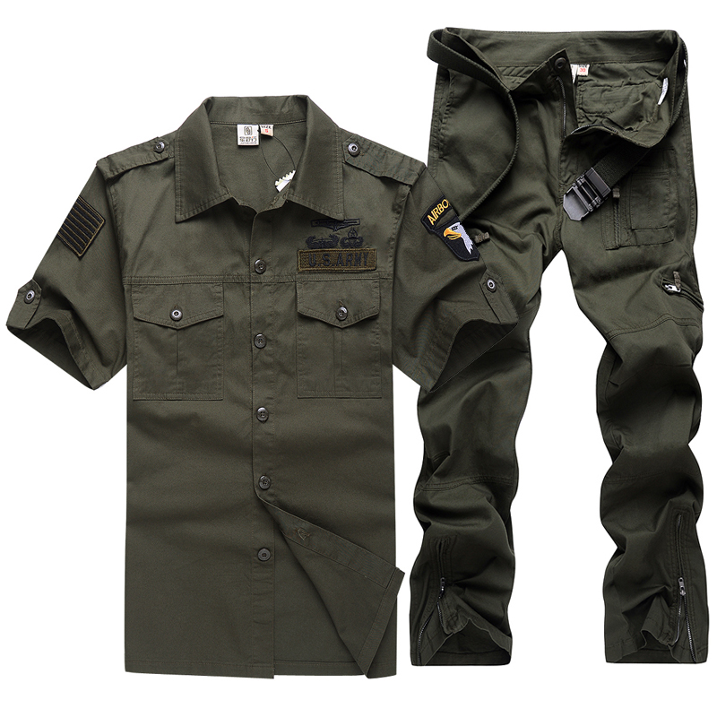 Military wild line of outdoor men's suit training uniform camouflage military fans short sleeve cotton sportswear suit men summer thin material