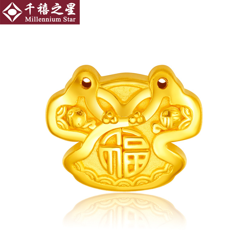 Millennium star baby足金phyllo jinlong feng gold pendant 3d hard gold pendants baby clothes