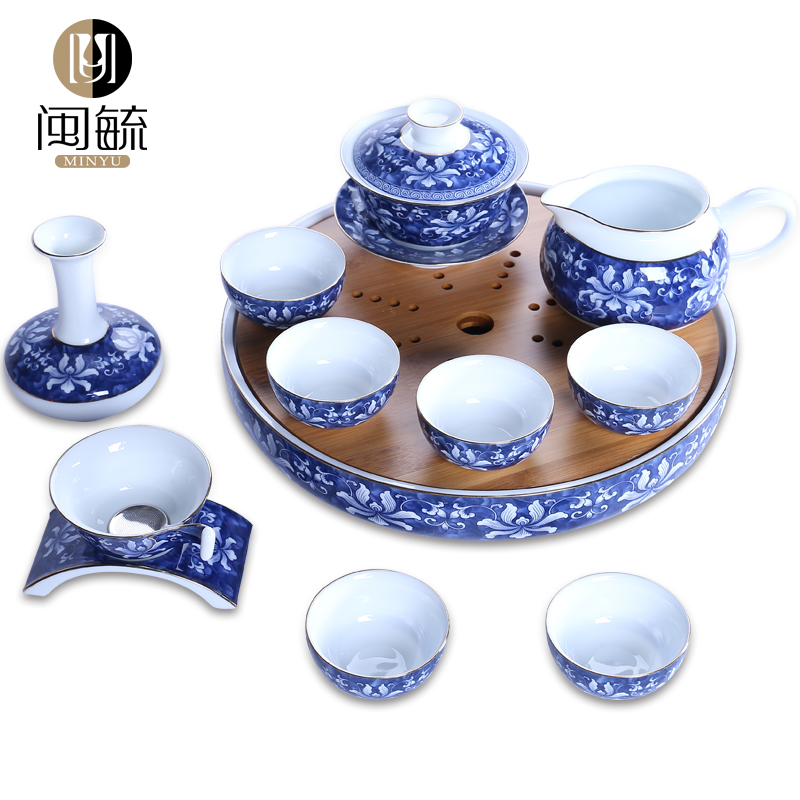Min yu kung fu tea set package of blue and white circular dry foam travel portable ceramic bamboo tea tray japanese style tea sets
