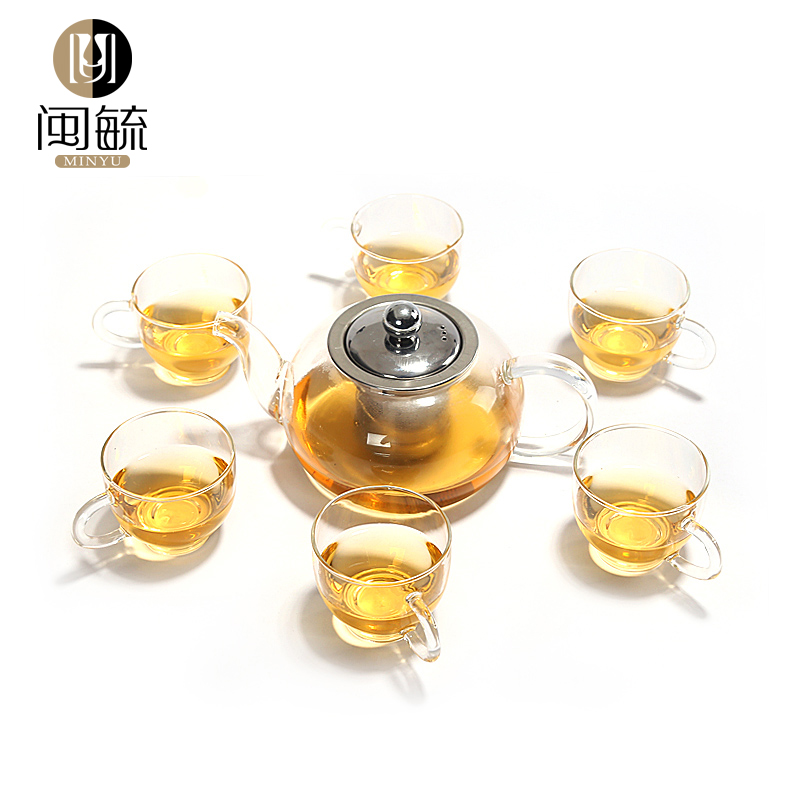 Min yu quality elegant cup heat resistant glass flower pot teapot filter teapot exquisite cup of tea chongcha