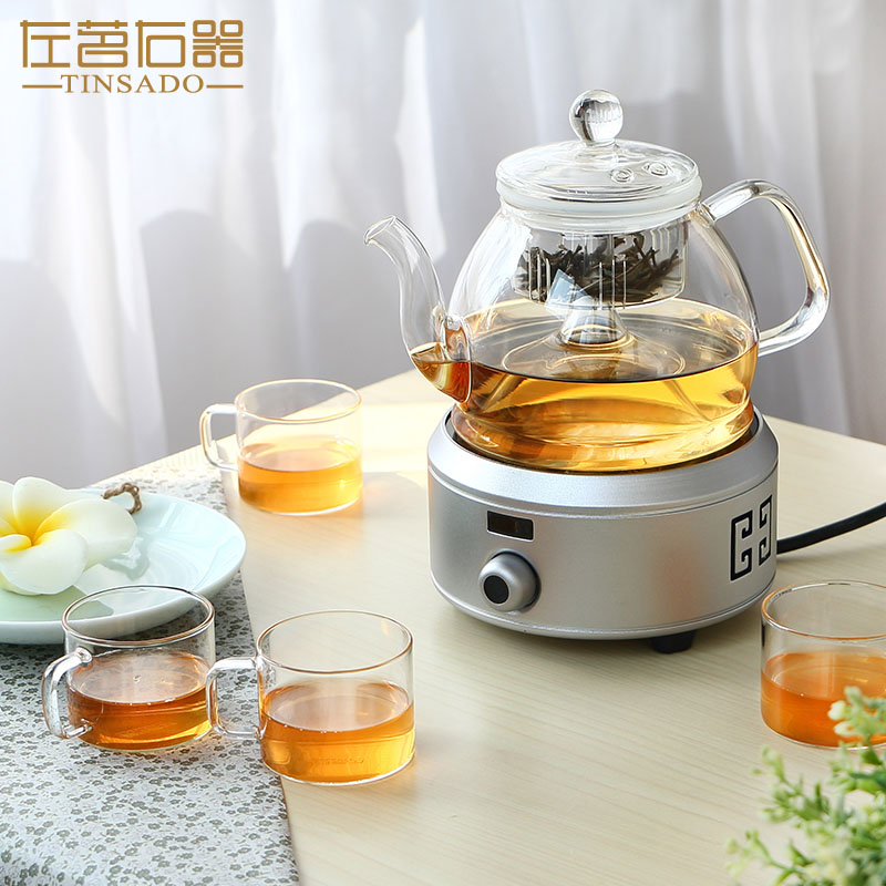 Ming left and right is a large capacity pyrex steam steaming teapot kettle boiling black tea pu'er tea pot electric ceramic stove glass Pot