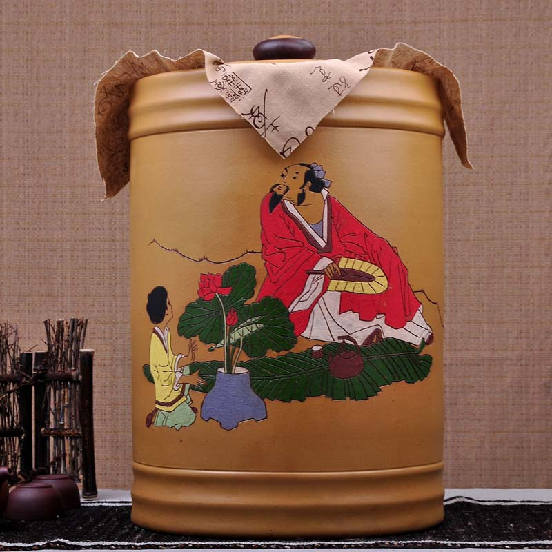 Ming lu large pot of pu'er tea cake loaded 26 yixing yixing pu'er tea caddy large mug of tea barrel storage boxes of tea Cans