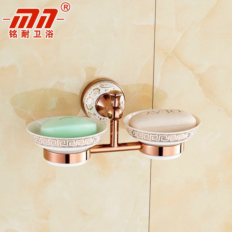 Ming resistant brand continental rose gold disc ceramic soap dish soap dish soap holder double double soap box soap basket