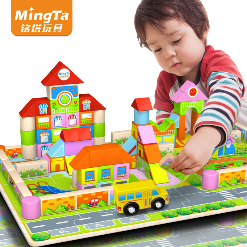 Ming tower 128 tablets of quality wooden barrels chunk of early childhood educational enlightenment kindergarten building blocks building blocks toys for children