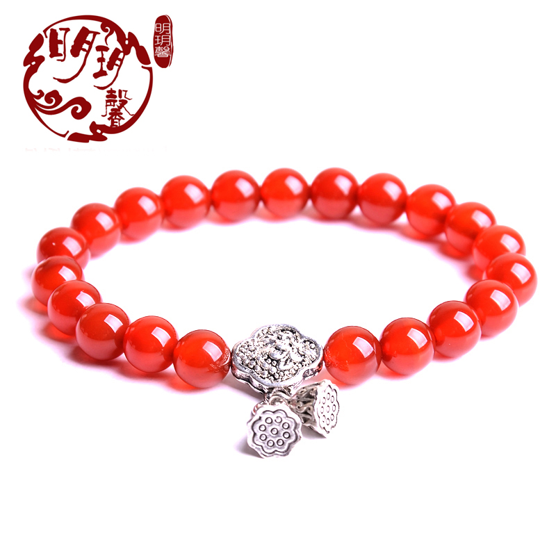 Ming yue xin red agate crystal bracelet with ethnic tibetan silver bracelets fashion jewelry lovers female models lap