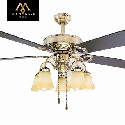 Mingjiahui ceiling fan 52 ceiling fan light 52-inch continental restaurant chandelier fan with fan lights remote control home decorative lights