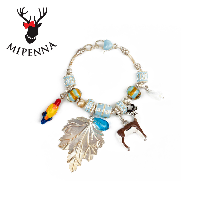Mipenna mi bona original pandora beaded blue antilopes bracelet japan and south korea jewelry sweet female sen female line