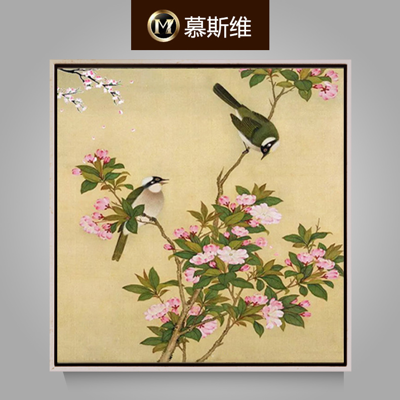 Misiti dimentional painted oil painting sofa backdrop painting decorative painting chinese lotus flower and bird painting the living room paintings