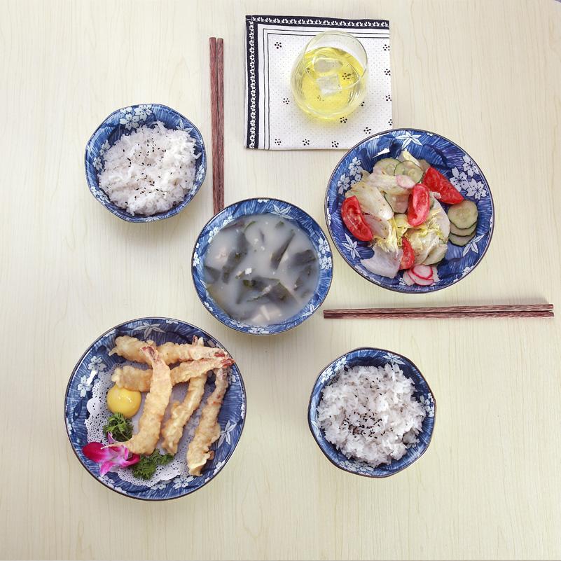 Miske jingdezhen ceramic crockery cutlery sets 7 sets of japanese and korean style creative home simple dishes