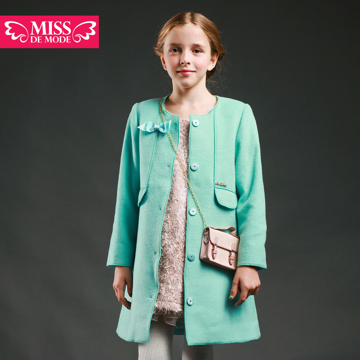 Miss green box kids modern girls 2016 spring and autumn new children's coat thin wool coat