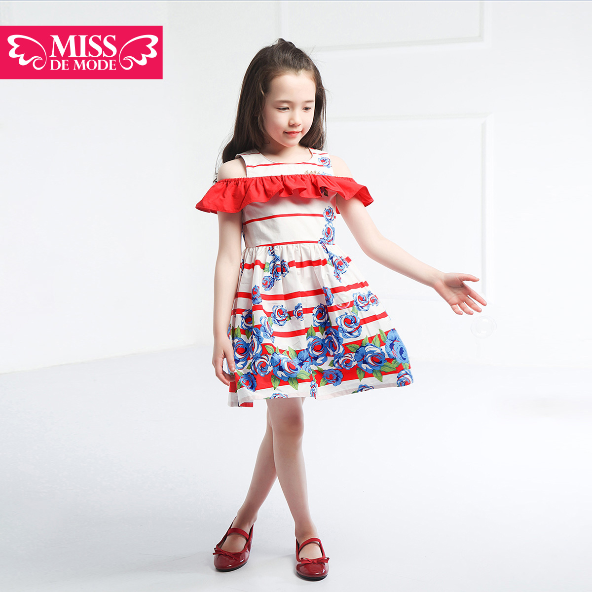 Miss green box kids modern girls gong master 2016 summer dress girls summer dress skirt long section