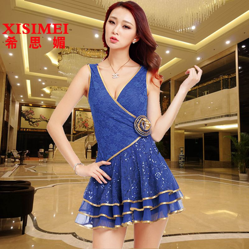 Miss honey early spring elegant ladies sexy tight package hip hit the color v-neck ruffled dress europe and the united states and even dress