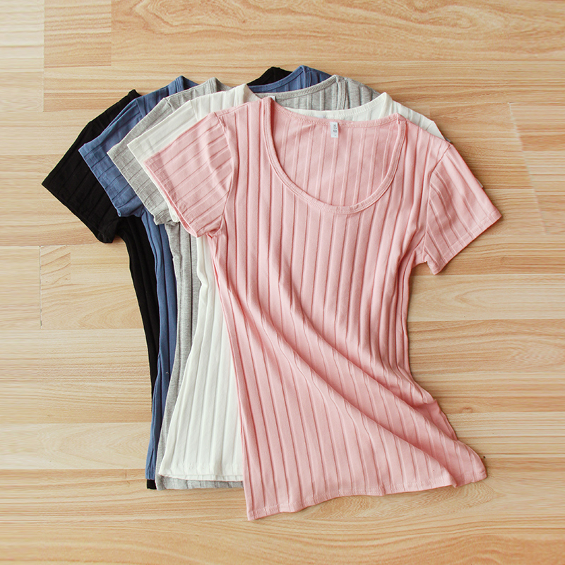Miss huang vertical stripes tight t-shirt female summer short sleeve slim was thin cotton round neck t-shirt vest summer