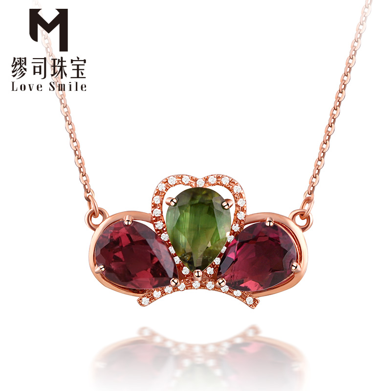 Miu'sinstruction division multicolored tourmaline pendant jewelry 3.4 karat k rose gold crown inlaid diamond pendant drops