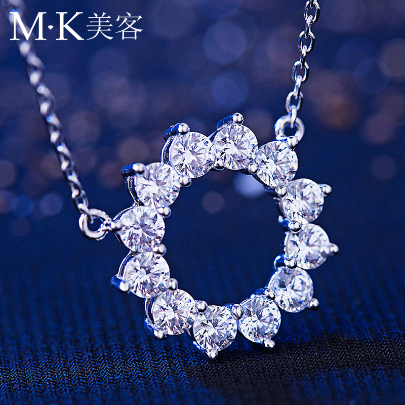 Mk swarovski zircon 925 silver necklace female korean version of a short paragraph lock ossicular chain pendant with jewelry