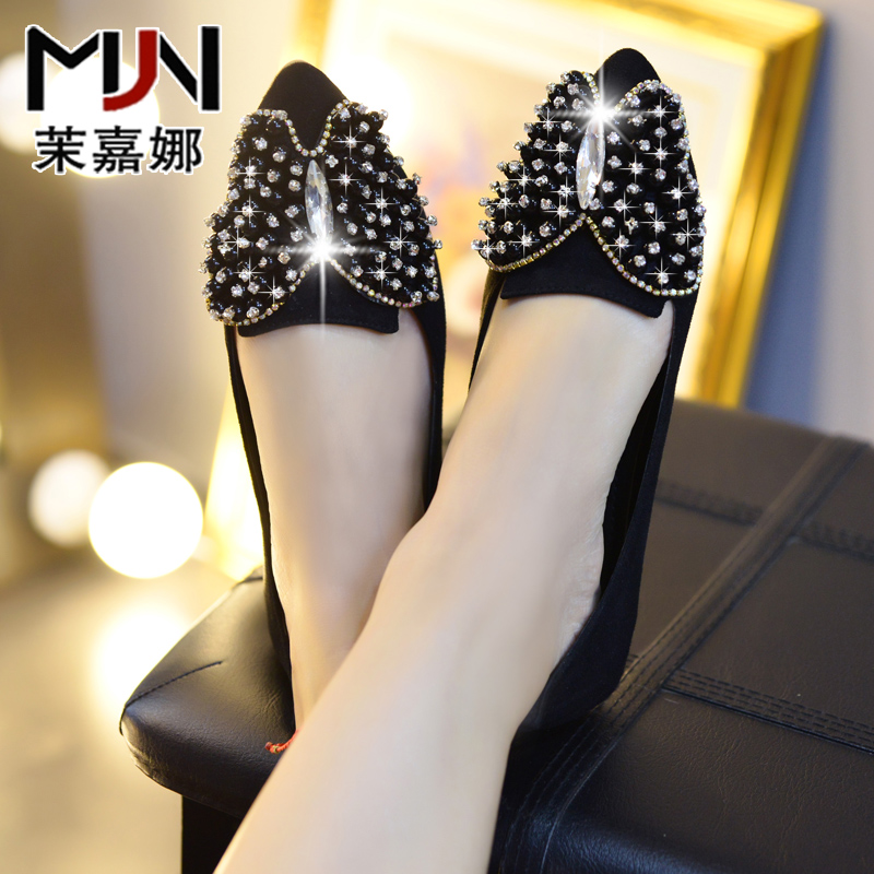 Mo gardner spring and autumn korean diamond bow flat shoes singles pointed casual shoes soft bottom comfortable shoes women's singles