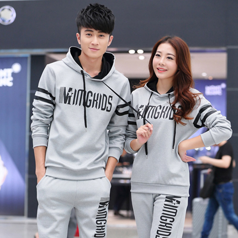 Mo jieni 2016 autumn lovers sweater suit men's sports suit hedging even cap sleeve sweater korean version of slim