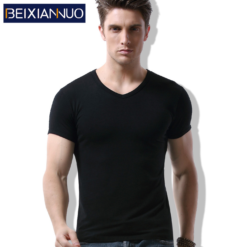 Modal cotton vest summer solid color t-shirt men's short sleeve v-neck underwear tight slim bottoming shirt round neck t-shirt
