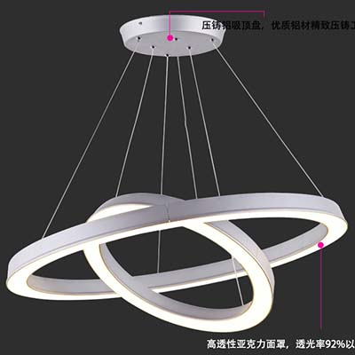 Modern and stylish full aluminum led chandelier creative personality living room dining chandelier modern minimalist style round