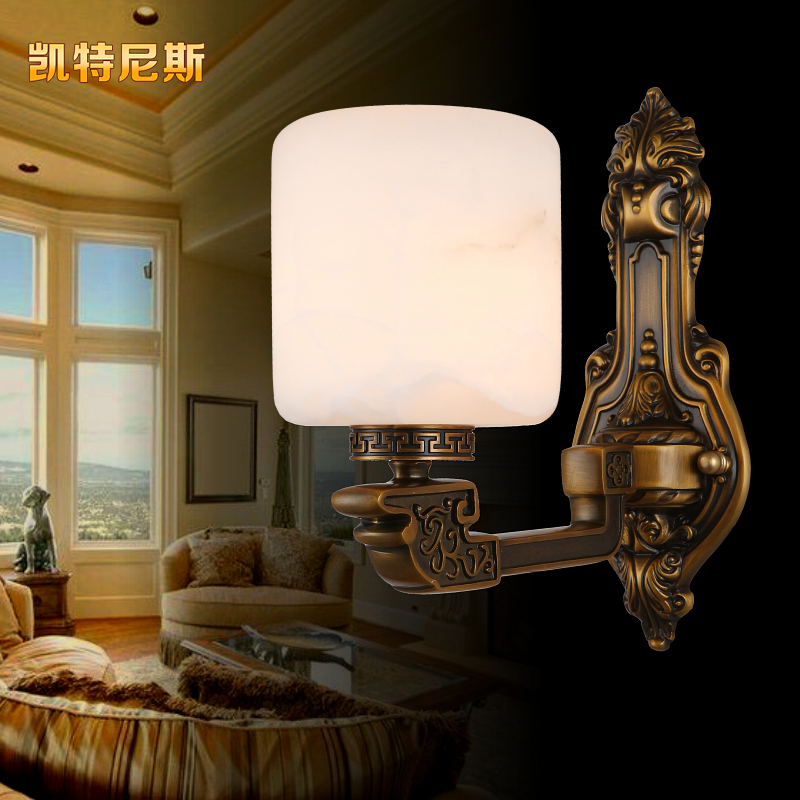 Modern chinese marble copper wall lamp american copper lamps european retro luxury living room bedroom hallway lighting lamps