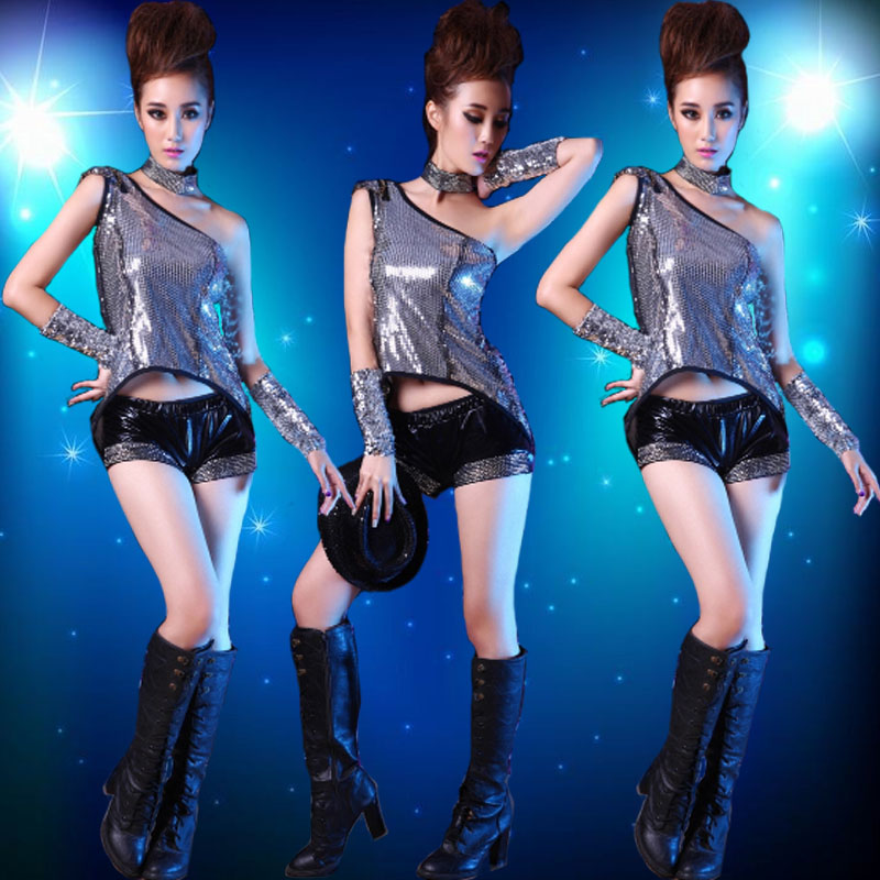 Modern jazz dance sequined costumes sexy female fashion catwalk stage dance performance clothing girls clothing