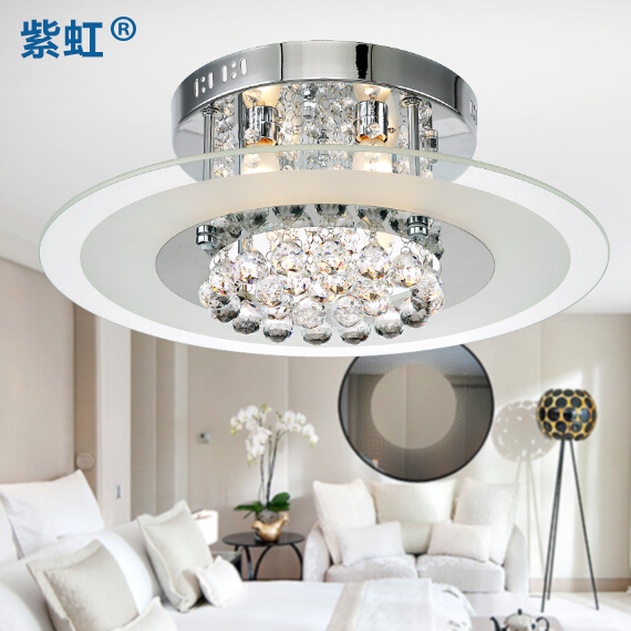 Modern minimalist led crystal lamp lighting creative fashion round crystal ceiling lamp bedroom lamp cozy restaurant lights lamps