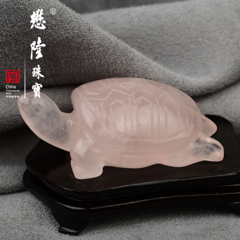 Mollen handmade carved natural hibiscus pink crystal stone turtle desk ornaments wooden pallet containing authentic free shipping gift