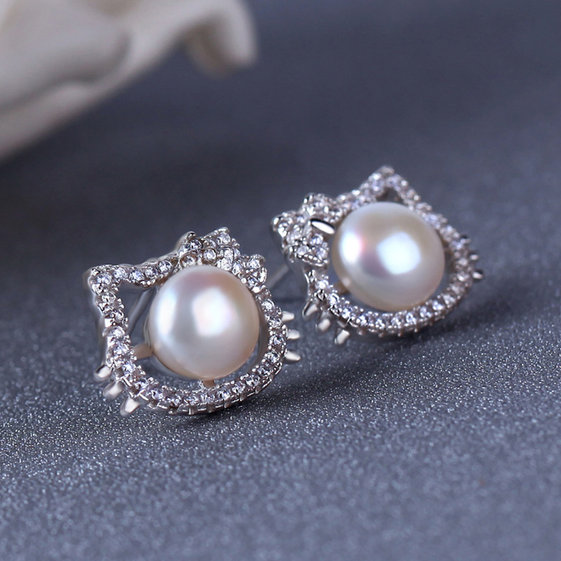 MON-CHATEAU temperament kitty cat earrings s925 silver freshwater pearl earrings earrings for christmas