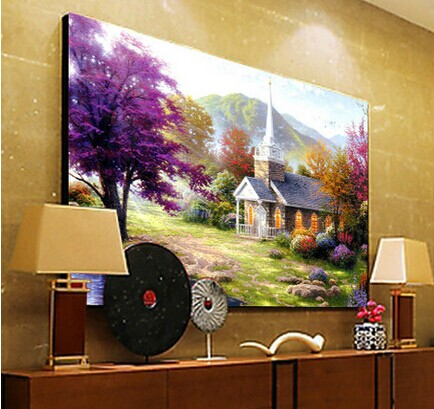 Mona lisa stitch stitch landscape painting lakeside cottage 5d diamond draw substantial new living room painting series
