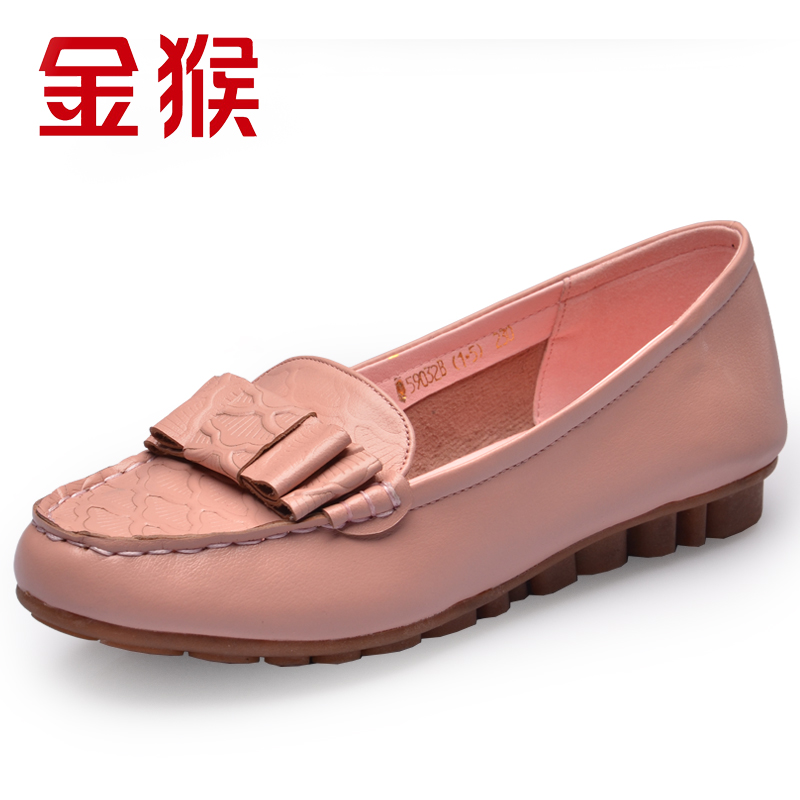 Monkey summer leather shoes sweet fashion casual shoes leather shoes round shallow mouth shoes autumn new mom shoes
