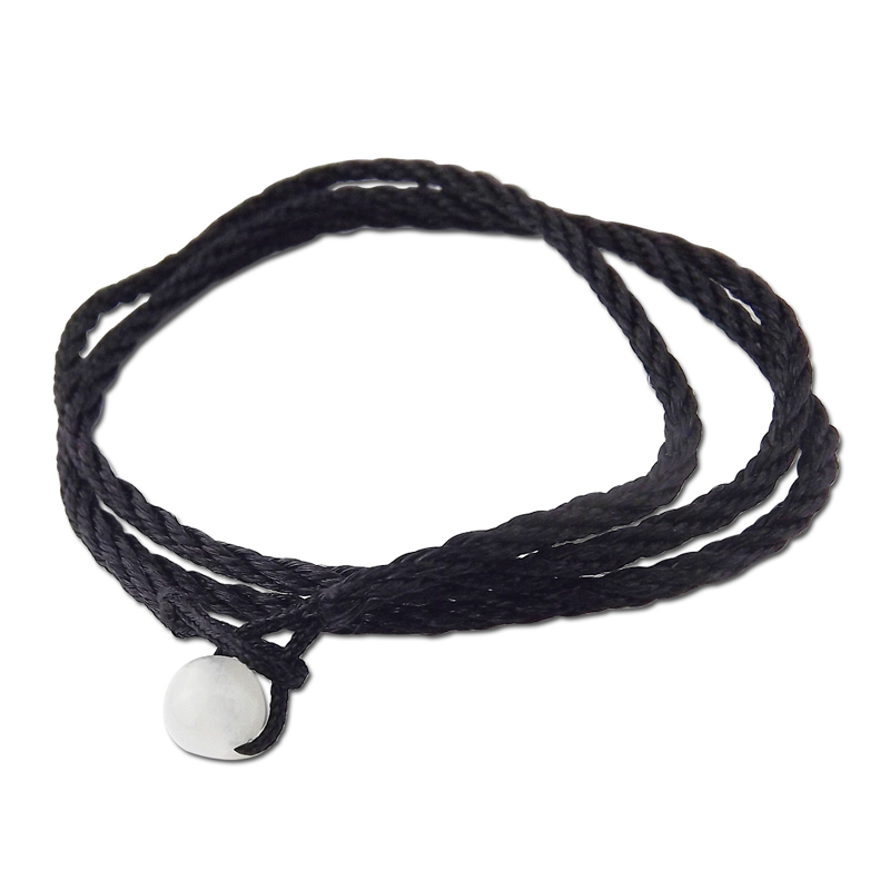 Moreno korean fashion cotton rope necklace with jade pendant necklace with rope rope black