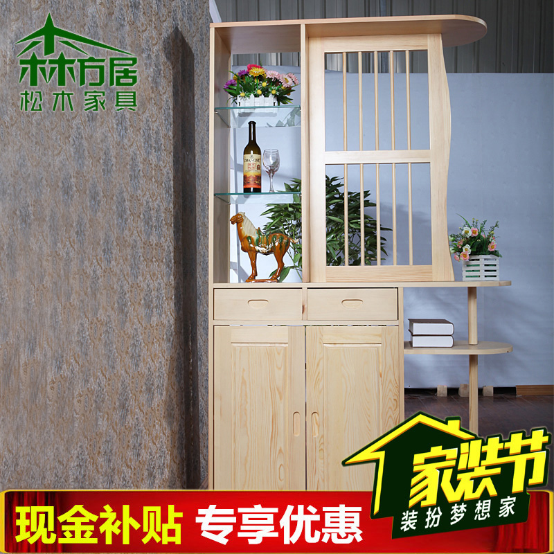 Mori party ranks wood cabinet entrance pure pine wood between the cabinet office entrance foyer entrance cabinet modern minimalist living room
