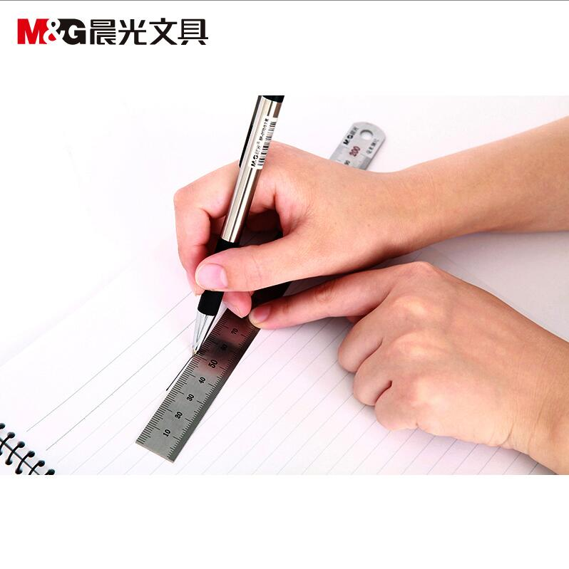 Morning stainless steel ruler 15/20/30cm steel measuring scale ruler metric ruler millimeter office aluminum alloy