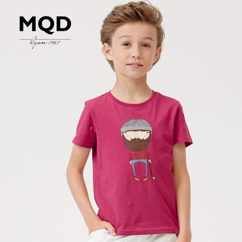 Mqd kids 2016 summer new boys short sleeve t-shirt big virgin pure cotton cartoon printed round neck short sleeve compassionate