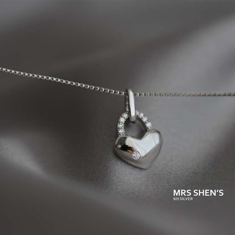 Mrs. shen 925 sterling silver korea small fresh sweet romantic concentric lock lock love micro pave pendant necklace female