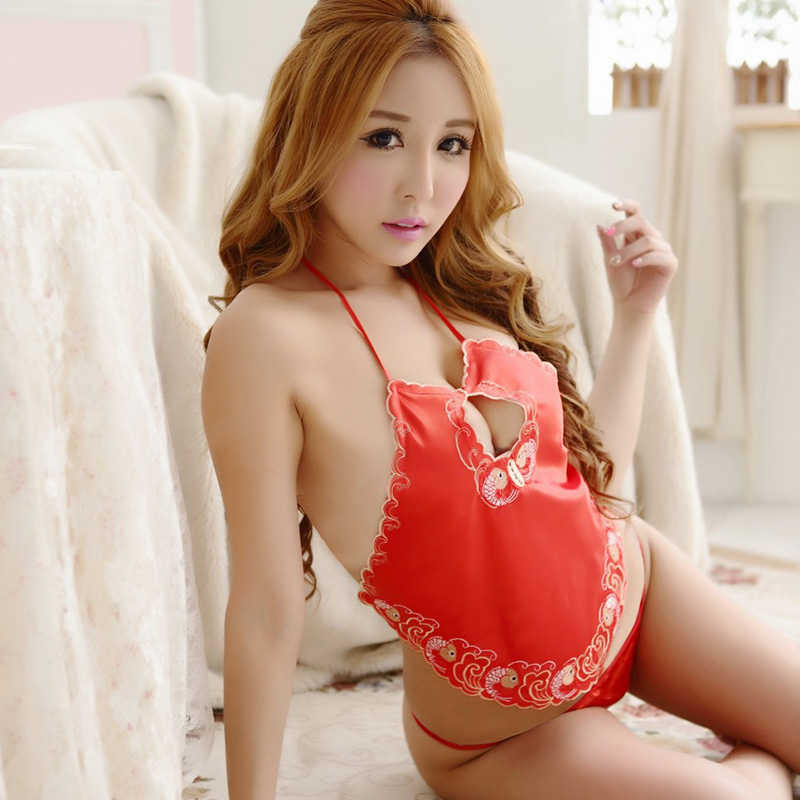 4ade63e87 Get Quotations · Ms. adult apron classical embroidery sexy lingerie retro  national wind sexy uniform temptation pajamas skirt