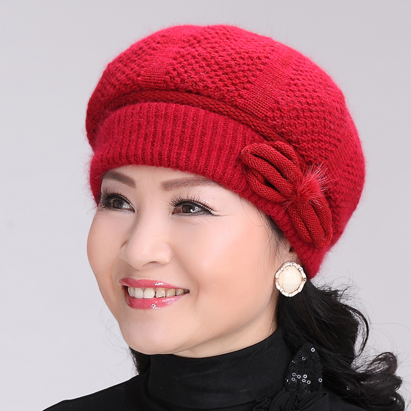 Ms. autumn and winter days knitting wool hat in the elderly middle-aged mom hat cap elderly female grandmother winter scarf