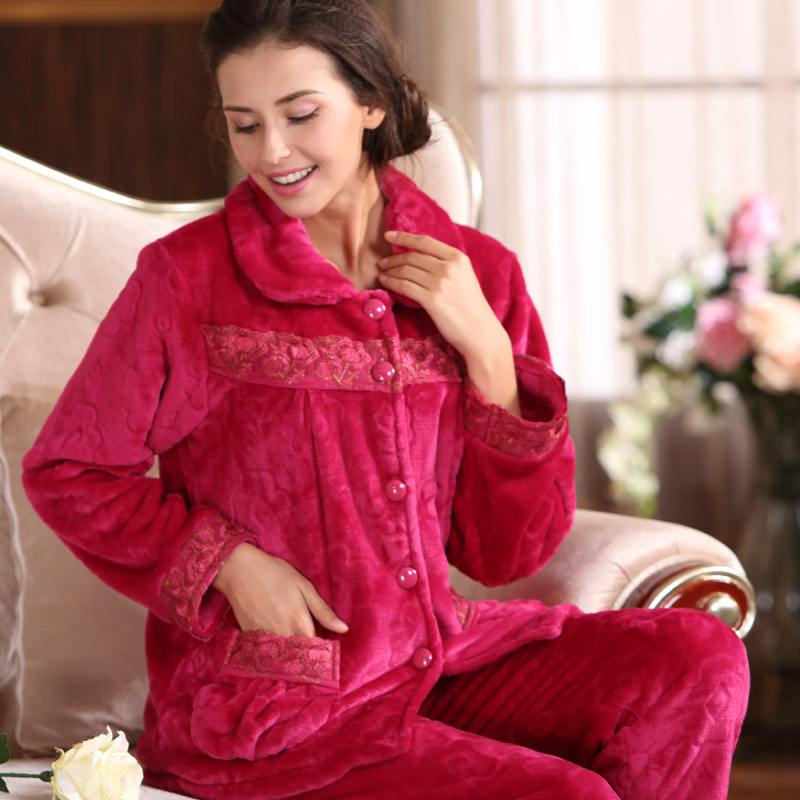 Ms. autumn and winter flannel long sleeve pajamas middle-aged tracksuit coral velvet leisure women pyjamas set