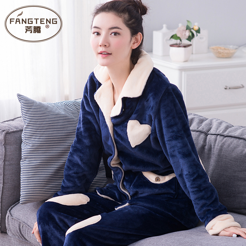 Ms. autumn and winter long sleeve pajamas thick coral velvet warm flannel suit tracksuit lovely girl winter