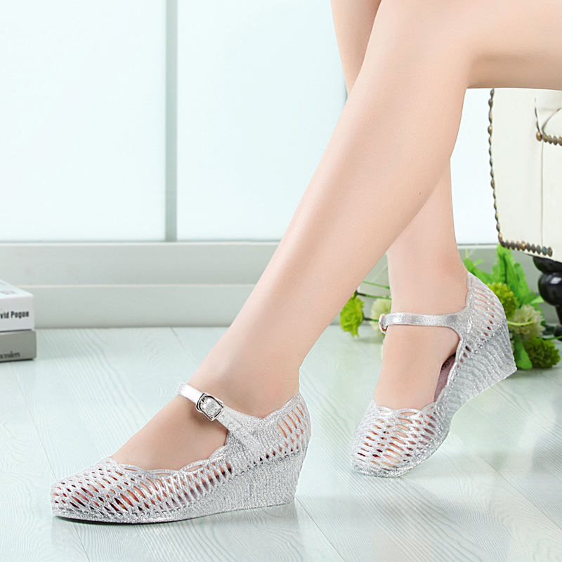 4d3d9858c351 Get Quotations · Ms. autumn new ms. slope with crystal nest hollow plastic  sandals free shipping